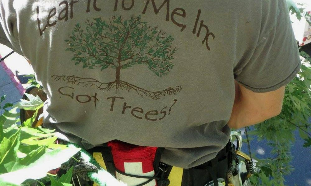 photo of leaf it to me t-shirt on tree service professional